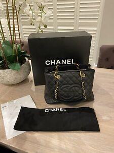 Chanel Grand Shopping Tote GST Black Caviar Gold Hardware