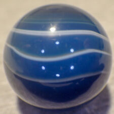 """BB Marbles: Blue Dyed Banded Agate. 1-1/8"""". (B183)"""