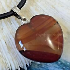 Gemstone Fire Agate Heart Necklace Genuine Leather - Protection,Vitality, Spirit