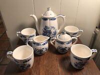 Vintage NASCO Japan JARDIN BLEU TEA SET 4Cups/Creamer-Sugar/Teapot Blue Floral