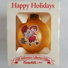1994 CAMPBELL'S SOUP Yellow Ball Ornament - Campbell Kid & Soup Can, 125 Anniv