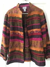 Renaissance Beautiful  Ladies Jacket Size L  Brown, Magenta, Orange