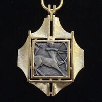 1970s Razza SAGITTARIUS Astrology Zodiac Sign 18 Inch Goldtone Pendant Necklace