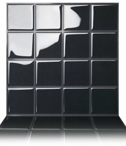 Tic Tac Tiles 3D Peel and Stick Wall Tiles Square Black (25cm x 25cm x 5sheets)