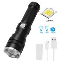 Powerful XHP50 LED USB Flashlight 18650 26650 Hunting Torch Lamp Spotlight Zoom