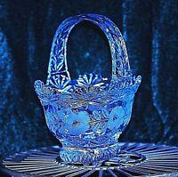 BEAUTIFUL QUALITY VINTAGE HEAVY LEAD CRYSTAL CUT GLASS HANDLED FRUIT BASKET BOWL