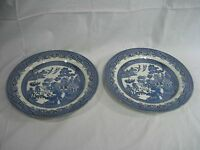Blue Willow China Made Churchill Staffordshire England Set of Two Dinner Plates