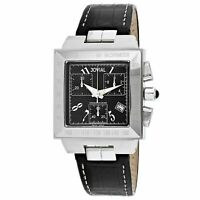 Jovial 11065-GSLC-04 Classic 50MM Men's Chronograph Black Leather Watch