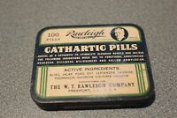 Vintage W. T. Rawleigh's Cathartic Pills Tin Used as Laxative 100 Pill Count