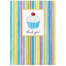 Cupcake Confection Dessert Cake Kids Birthday Party Thank You Notes Cards