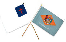"""12x18 12""""x18"""" Wholesale Combo Christ Christian State Delaware Stick Flag"""