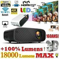 4K 1080P HD WiFi 3D LED Mini Video Theatre Projector Home Cinema 18000LM HDMI D