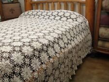 Vintage Ecru Crochet Queen Anne Floral Canopy Bedspread Queen Full Twin 106x90