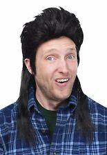 Mens Mullet Wigs Black Blonde Brown Hair Wig White Trash Costume Adult Halloween