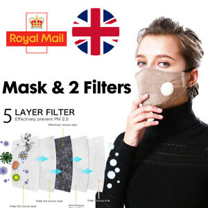 Cotton Face Mask Gingham Washable Reusable with Respirator & 2 x PM 2.5 Filters