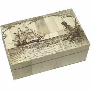 Mermaid Antique Vintage Scrimshaw Bone Jewelry Box Trinket  Nautical Decor