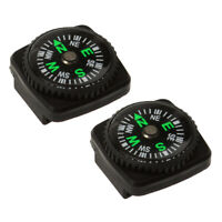 2Pcs Outdoor Hiking Travel Hunting Portable Small Rubber Watch Compass Black