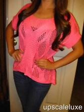 BEBE PINK CROCHET HIGH LOW CROP SWEATER NWT NEW SMALL S