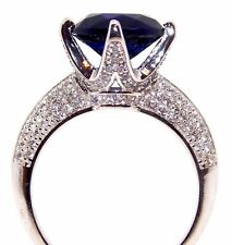 Sterling Silver Blue Sapphire And Diamond 6.1ct Ring (925) Free Gift Box