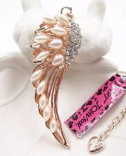 Betsey Johnson Necklace Angel Wings Gold Pearl Crystals Spiritual Religious