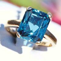 5Ct Brilliant Emerald Cut Blue Topaz Engagement Ring 14k Yellow Gold Over