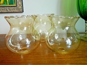 Vintage Retro Gold Lustre Glass Light / Lamp Shade Frilled Edge 3 Available