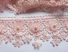 "1y Flower 3.5"" Lace Edge Trim Pearl Wedding Applique DIY Sewing Crafts-Baby Pink"