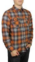 Brixton Mens Bowery Lightweight L/S Flannel Burnt Orange M New