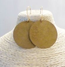 Extra Large Brass Circle Disc Round Dangle Earrings