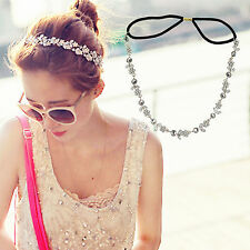 Women Girls Stunning Elastic Metal Rhinestone Head Chain Headband Hair Band SUP