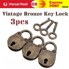 3 X Old Vintage Antique Bronze Mini Padlocks With Keys