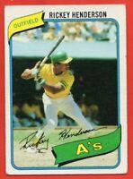 1980 Topps #482 Rickey Henderson ROOKIE RC VG-VGEX Oakland Athletics FREE SHIP