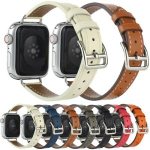 Real Leather Band Replace Slim Straps Accessories For iWatch Series 7 SE 6 5 4 3