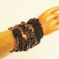 Set of 3 Black Gold Color Mix Handmade Beaded Stretch Elastic Seed Bead Bracelet