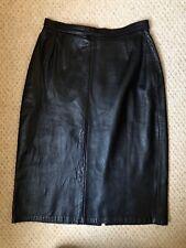 Vtg/Retro Black Genuine Leather High Waist Pencil Long Midi Skirt Small 8/10 W26