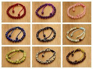 Handmade Adjustable Natural 6mm Gemstone Cord Bracelet & Velvet Pouch. Various.