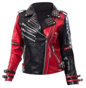 Harley Quinn Heartless Asylum Biker Black & Red Leather Jacket