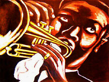 LOUIS ARMSTRONG PRINT poster jazz trumpet wild man blues cd  a wonderful world