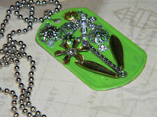 Steampunk Bouquet of Flowers Collage Pendant Green Dog Tag Necklace D165