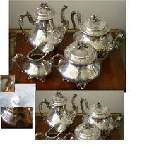 ART NOUVEAU FRENCH 950 STERLING 4Pc TEA & COFFEE SET BY DEBAIN,72 OUNCES ELEGANT