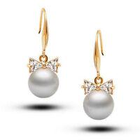 1 Pair Women Lady Elegant Pearl Crystal Rhinestone Ear Stud Earrings Jewelry