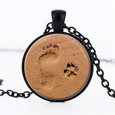 Wholesale Cabochon Glass Black  Chain Pendant Necklace ,Little Beach Feet /112