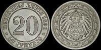 GERMAN EMPIRE 20 PFENNIG 1890-J (UNC) *SCARCE DATE & NICE EYE-APPEAL*