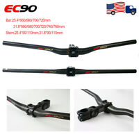 EC90 MTB Bike Carbon Fiber Handlebar 25.4/31.8mm Flat/Riser Bar Stem Ajustable
