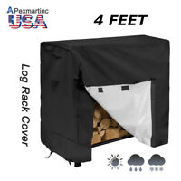 4 Feet Outdoor Firewood Log Rack Pile Cover Dust Rain Snow Waterproof Protector