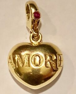 """Pasquale Bruni 18k Yellow Gold Ruby """"Amore"""" Puffy Heart Charm Pendant Retired"""