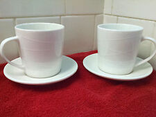 """2 Starbucks Mugs Cups w/ matching saucrs 2004 Ivory """"At Home Collection""""  NICE!"""