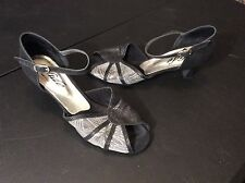 Ballroom Dancing Shoes Glide USA Size 8.5 Black Sparkly with Mesh