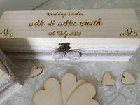 Rectangle - Personalised Wooden Rustic Alternative Heart Wish Box & Ribbon & Bow