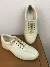 Ecco Womens 38 (USA 7-7.5) Cream Colored Leather Lace-Up Sneakers